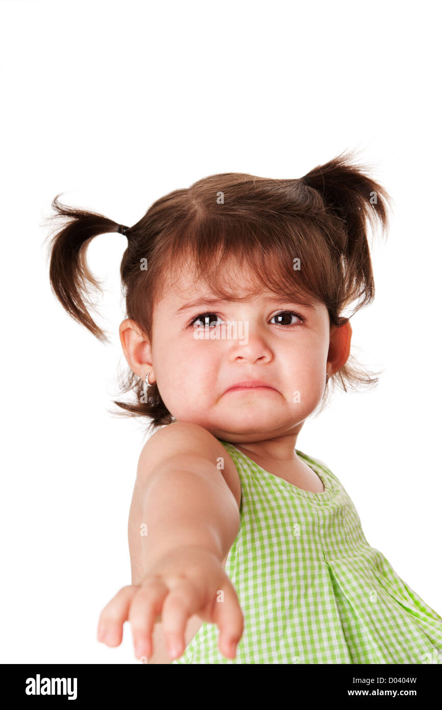 cute baby toddler young little girl with very sad face expression