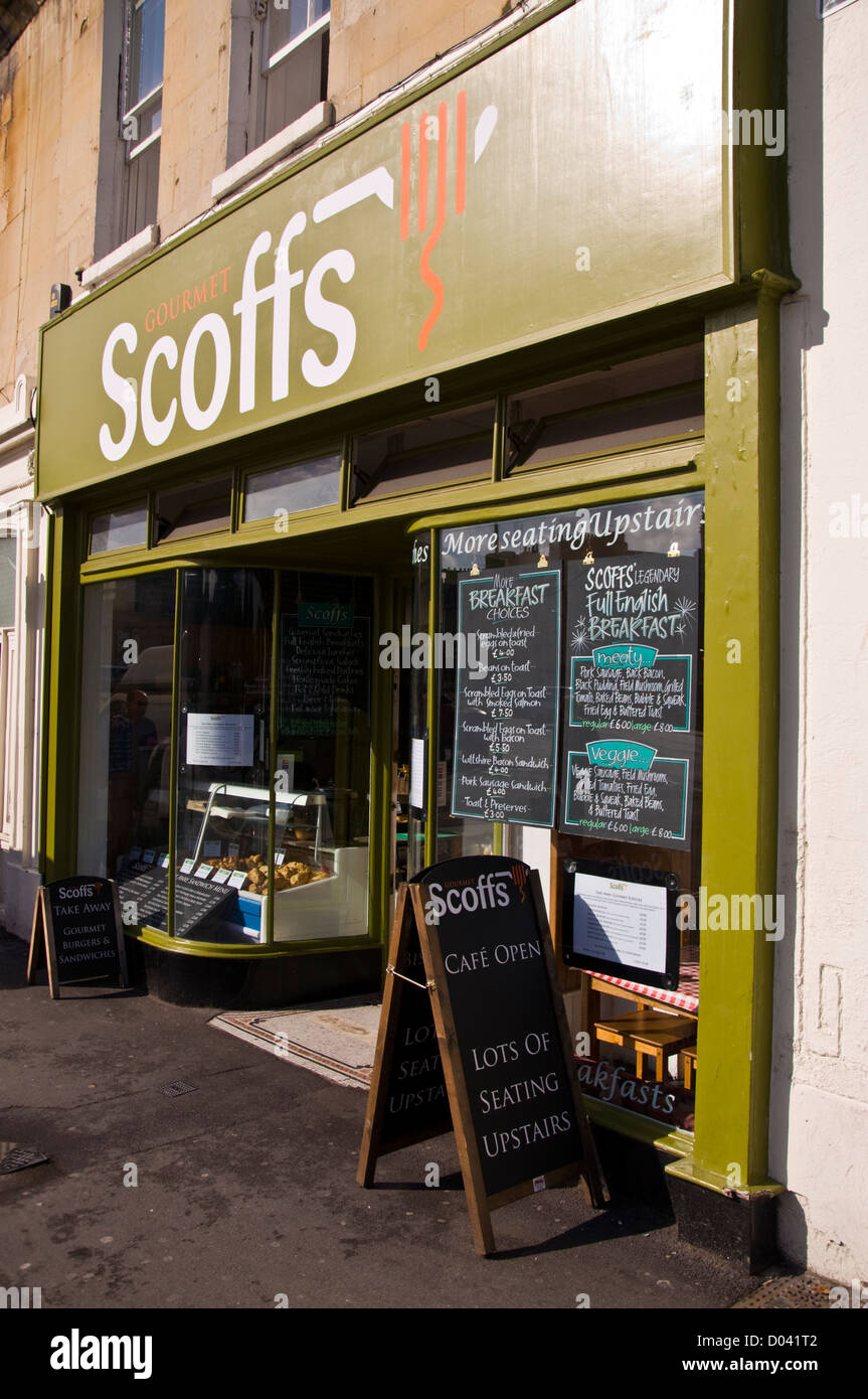 Scoffs Gourmet Cafe on Terrace Walk in the city of Bath England - Stock Image