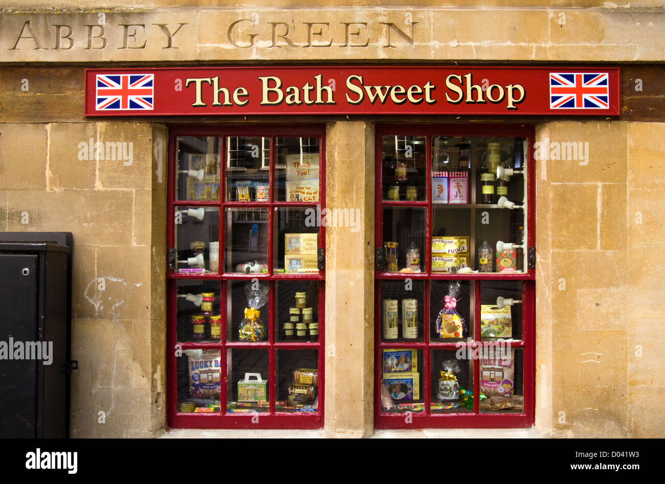 Window of The Bath Sweet Shop on Abbey Green in the City of bath ...