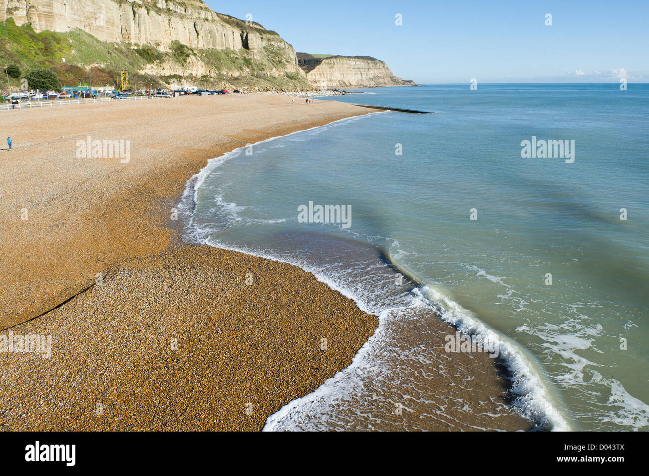 A shingle beach in Old Hastings. - Stock Image