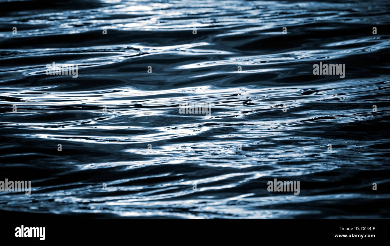 Abstract blurred night water wavy reflections background texture - Stock Image