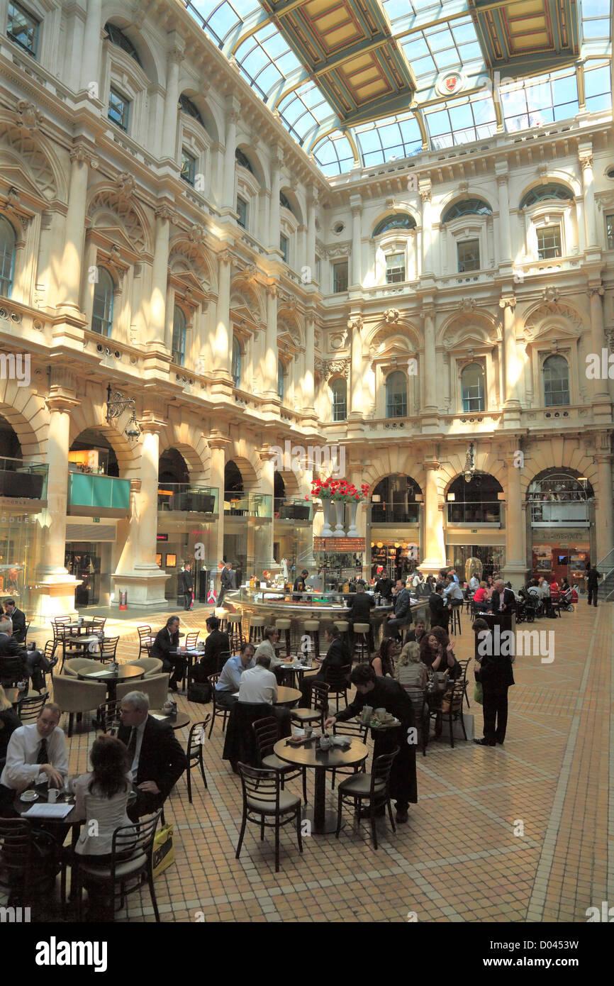 The Corn Exchange interior atrium in the City of London. - Stock Image