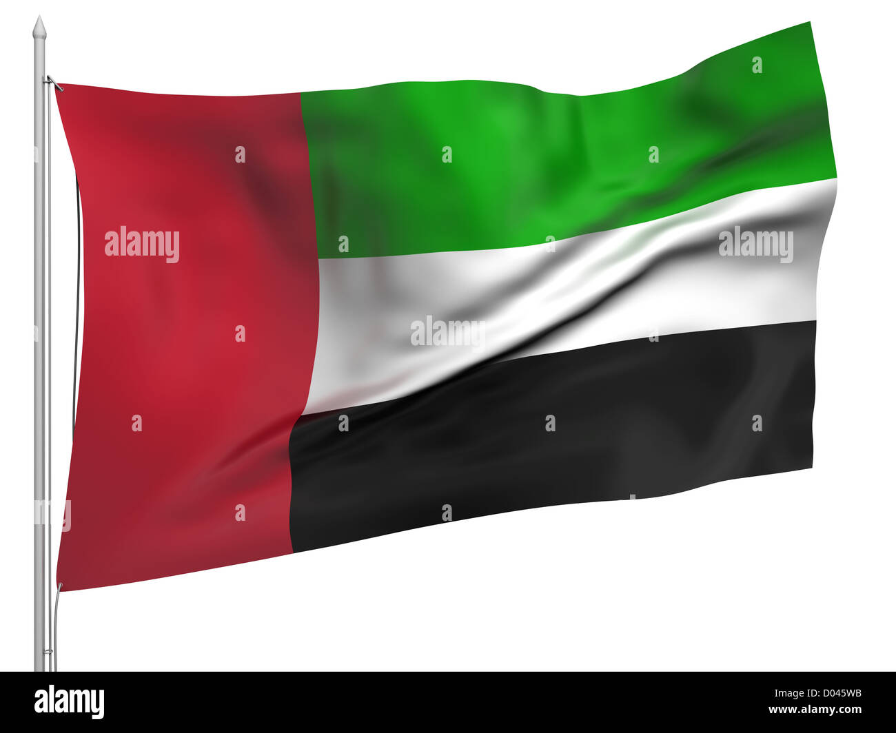 Flying Flag of United Arab Emirates - All Countries Collection. Flag, flagstaff isolated image on white - Stock Image