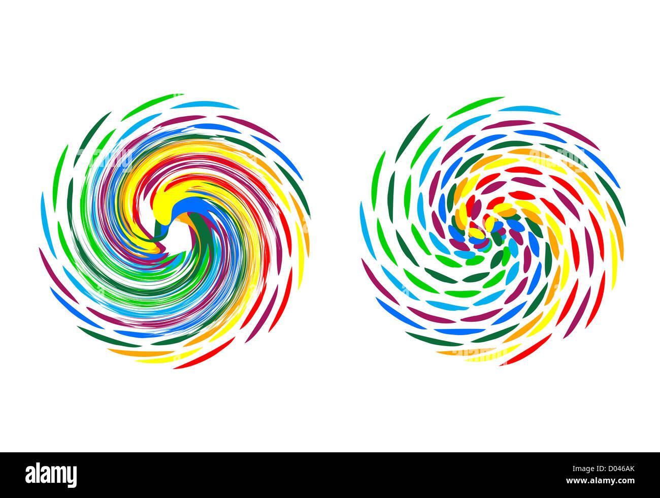 illustration of colorful logo on white background - Stock Image