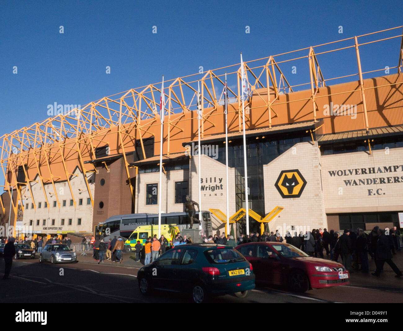Wolverhampton West Midlands Molineux Stadium ground of Wolverhampton Wanderers Football Club on home match day - Stock Image