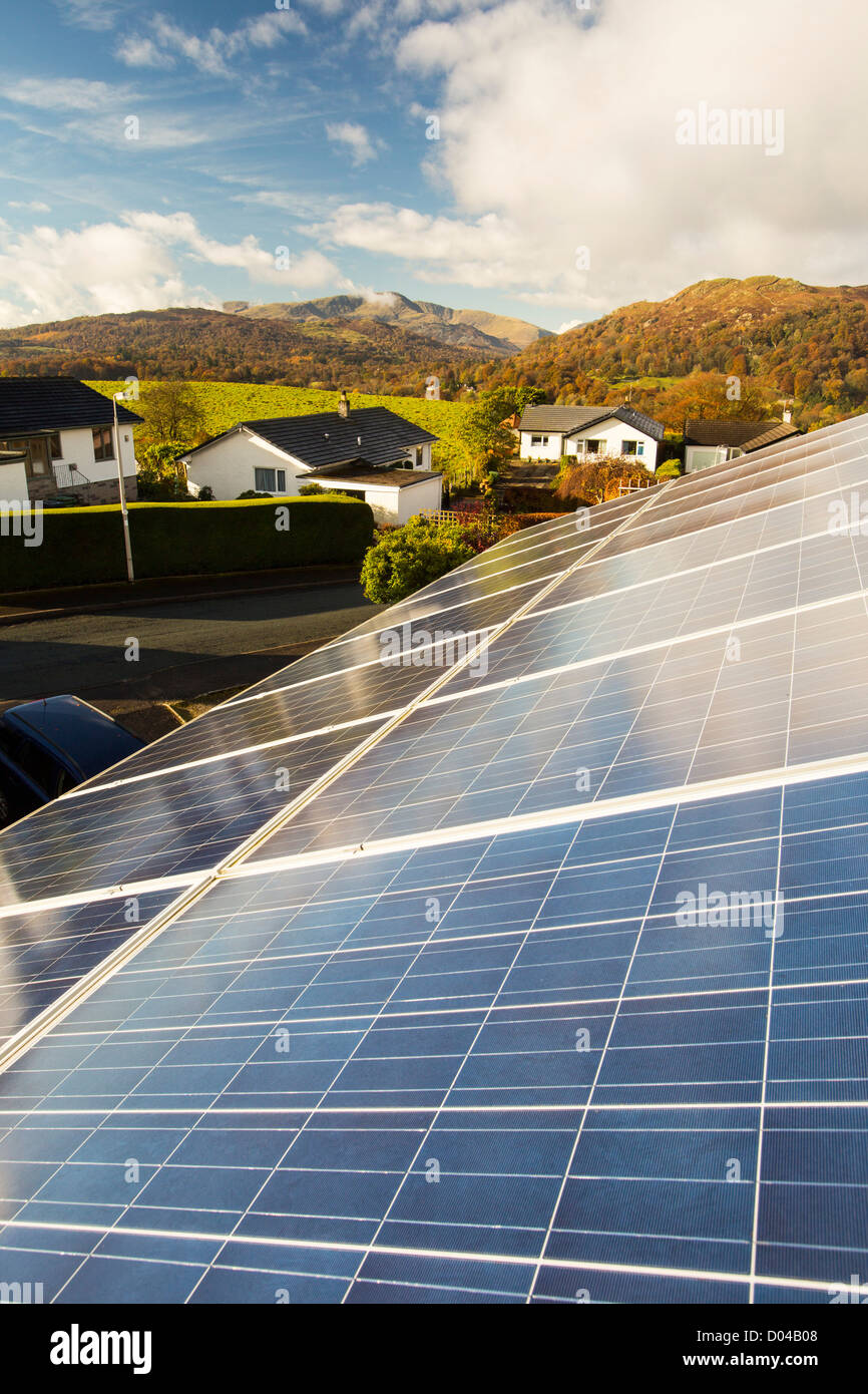 A solar panel on a house roof in Ambleside, Lake District, UK. - Stock Image