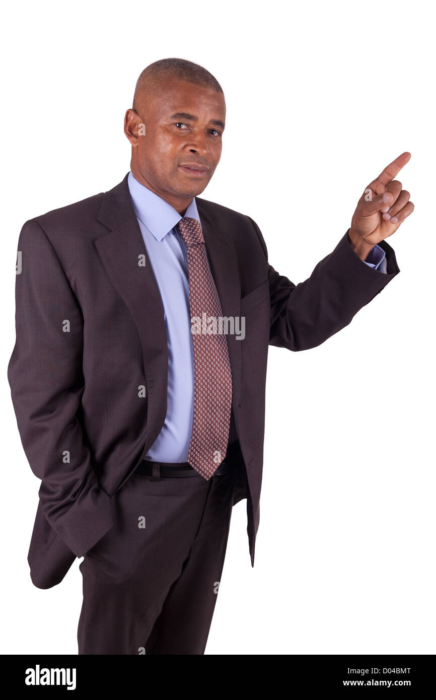African American business man showing something on white - Stock Image