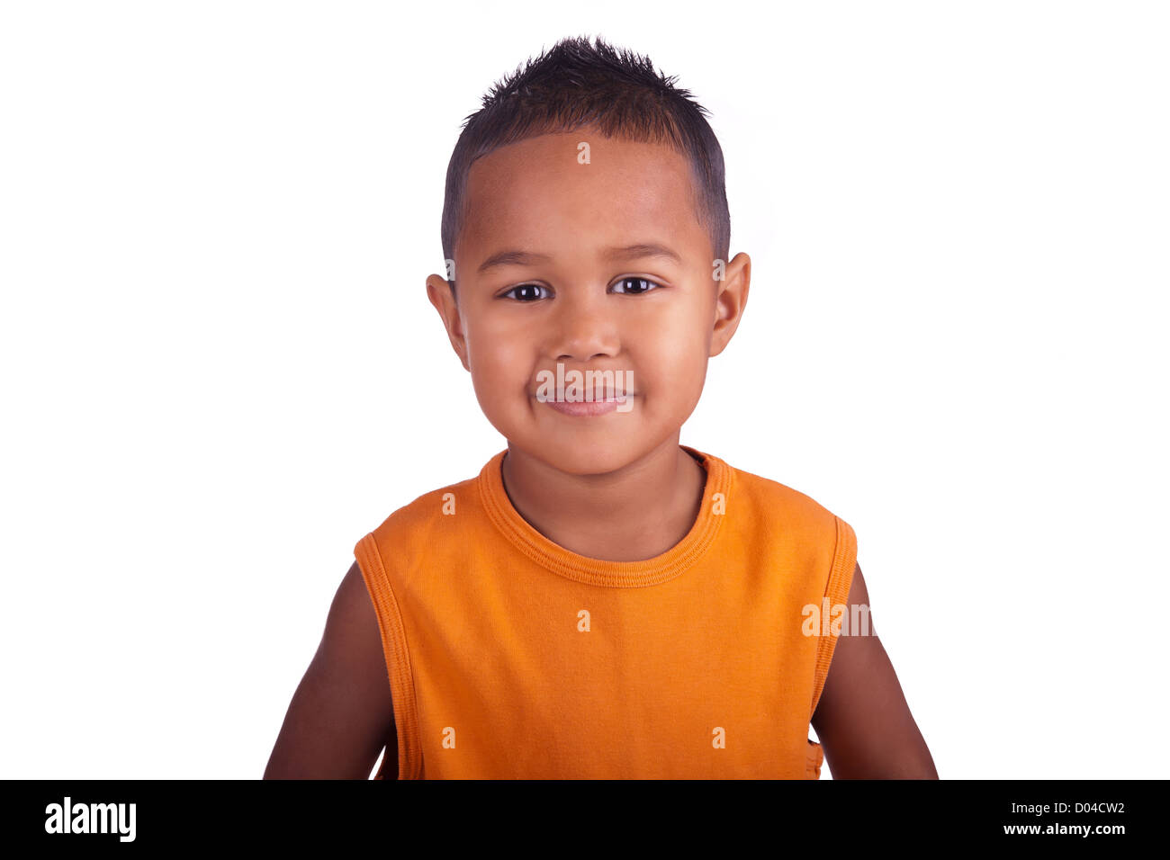 Asian boy smiling close up of face - Stock Image