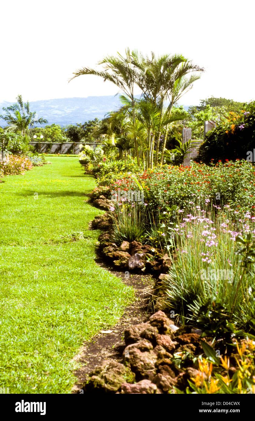San Jose 07-1998 Digital Slide Conversions,Gardens,Surrounding Mountains,San Jose,Costa Rica,South America Stock Photo