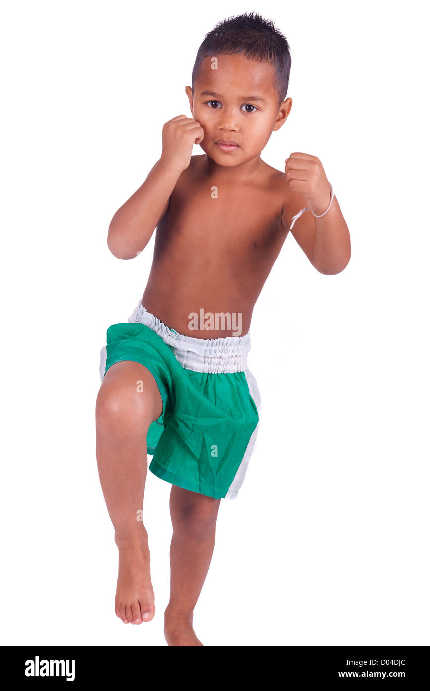 asian boy children before a fight - Stock Image