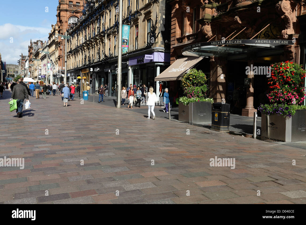 Buchanan Street pedestrian precinct in Glasgow city centre, Scotland, UK - Stock Image