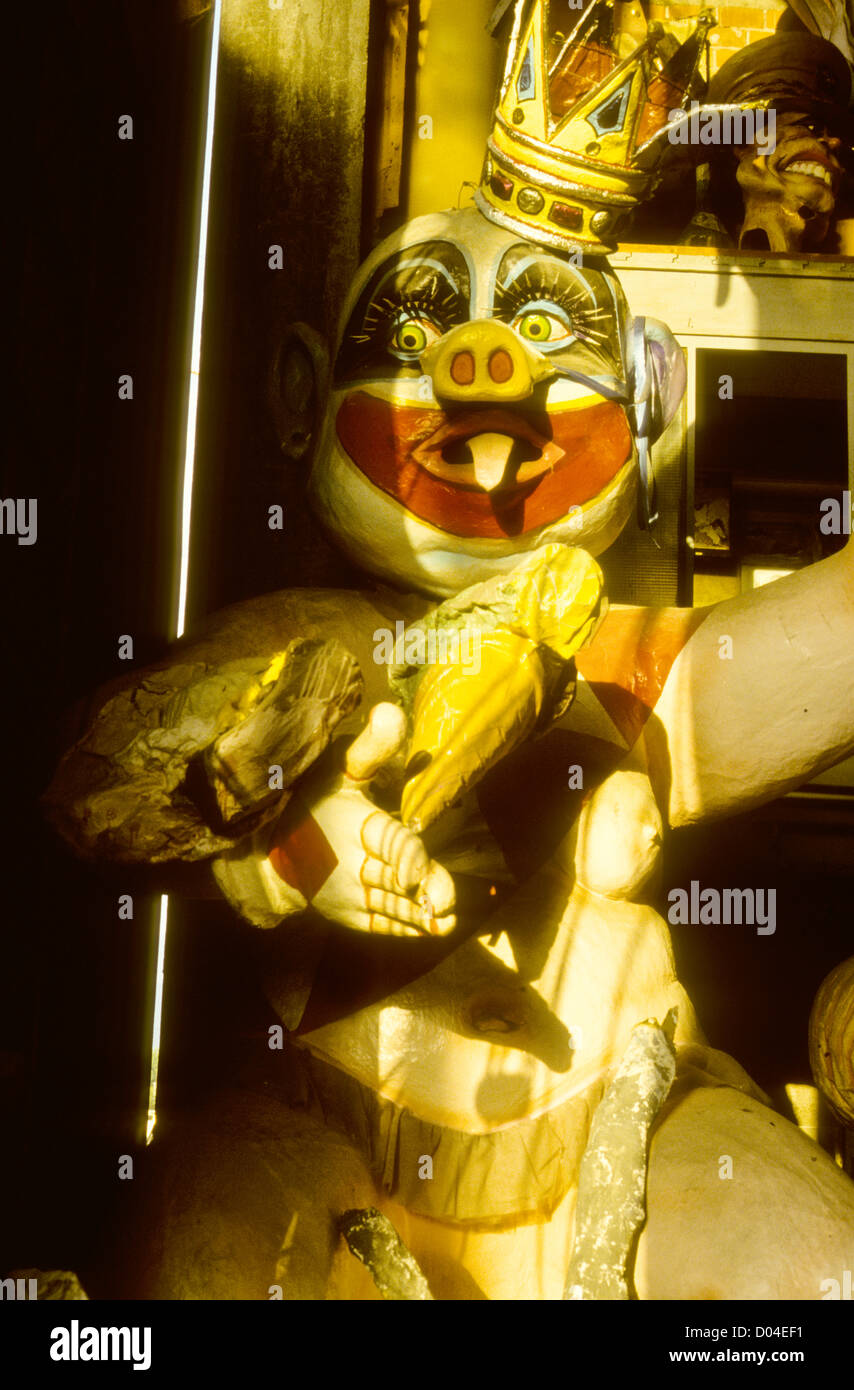 Giant Puppets,Faces,Masks,Puppetry,Processional icons,September-86 Digital Slide Conversions,Genoa,Liguria,Italy - Stock Image