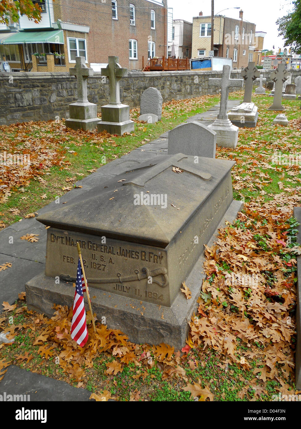 Grave of James Barrett Fry at St. James the Less in Philadelphia. Church of St. James the Less on the NRHP since - Stock Image