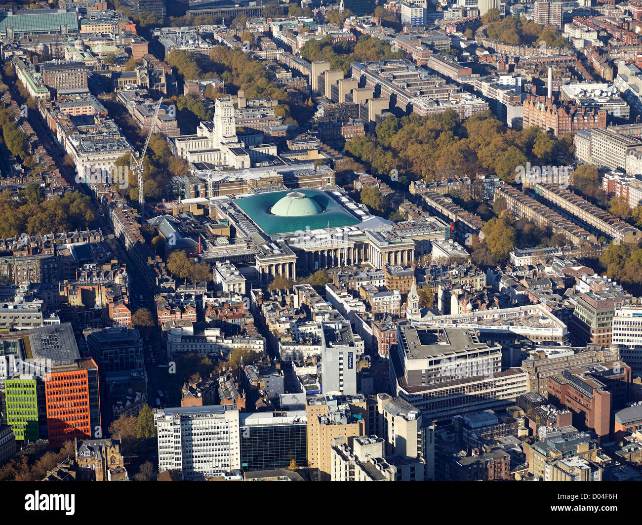 The British Museum from the air, Bloomsbury, London, England UK showing the new Great Court - Stock Image