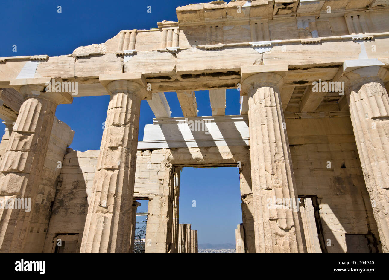 Propylaea building at the Acropolis of Athens in Greece - Stock Image