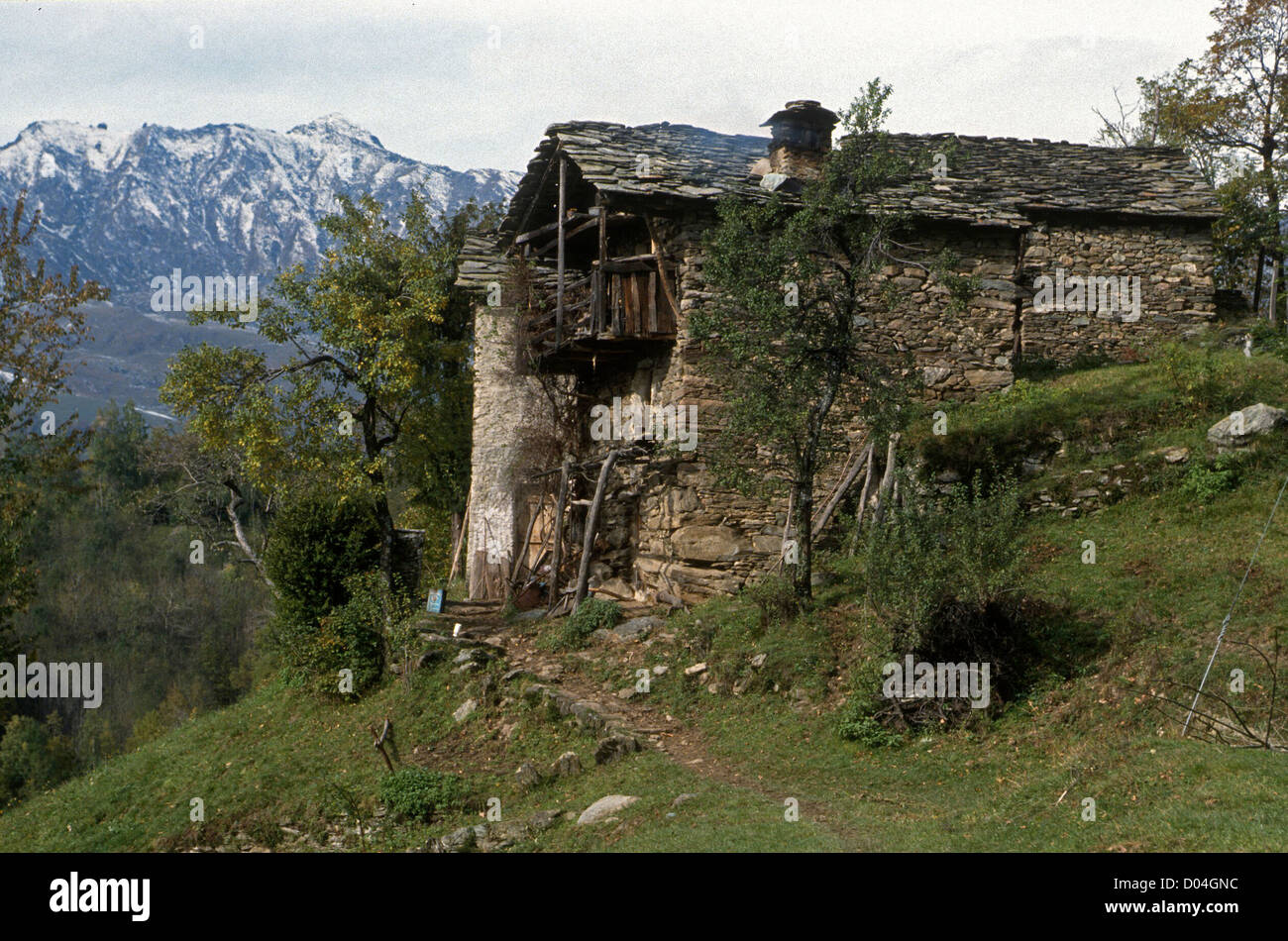 CHARACTERISTIC  DESERTED STONE MOUNTAIN HOMESTEAD- PIAMONTE- ITALY - Stock Image
