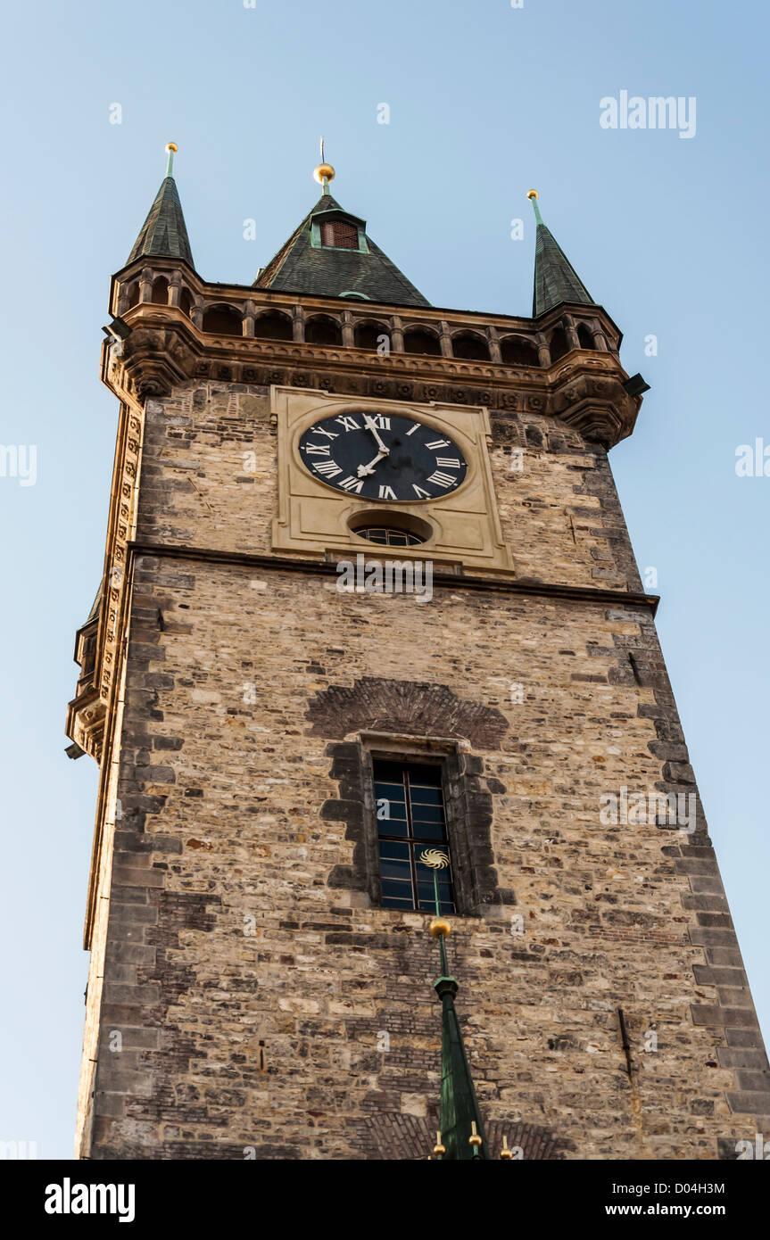 famous clock tower in Prague, Czech Republic - Stock Image