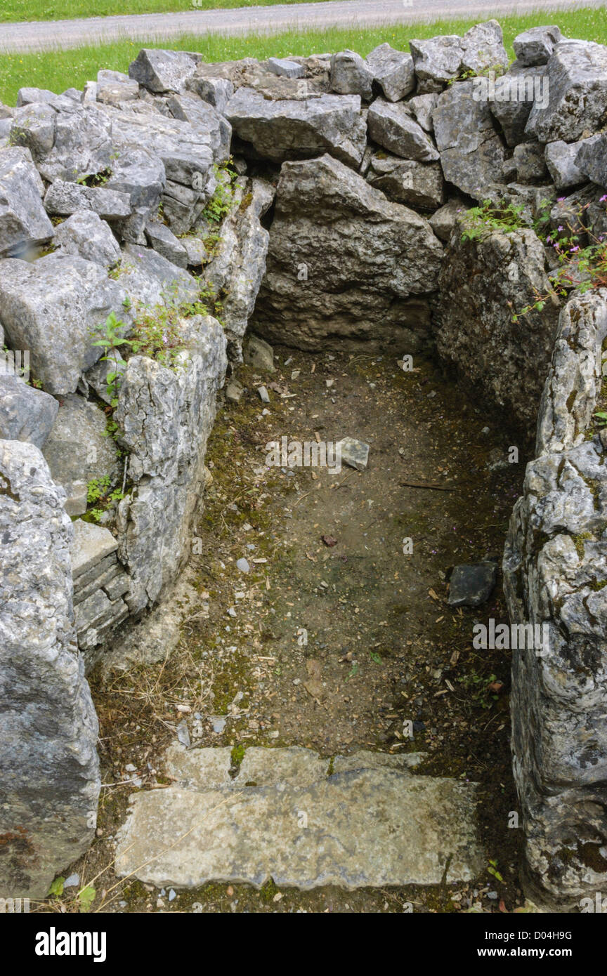One of the side-chambers at Parc le Breos Cwm neolithic chambered cairn in the Gower peninsula in South Wales.Stock Photo