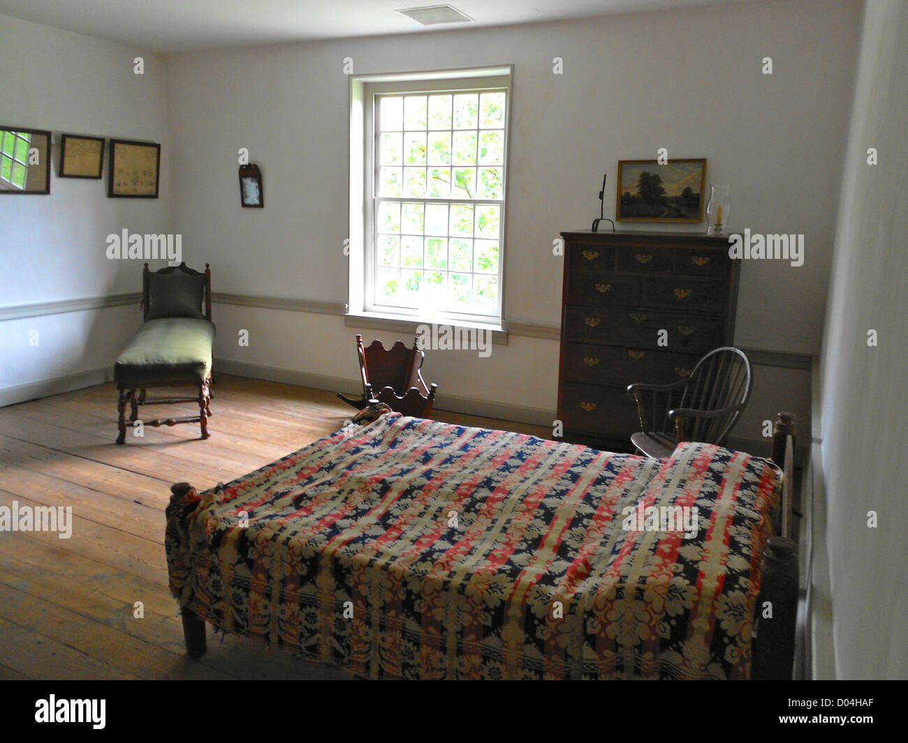 2nd floor room in Primitive Hall in Chester County, Pennsylvania. On the NRHP. - Stock Image