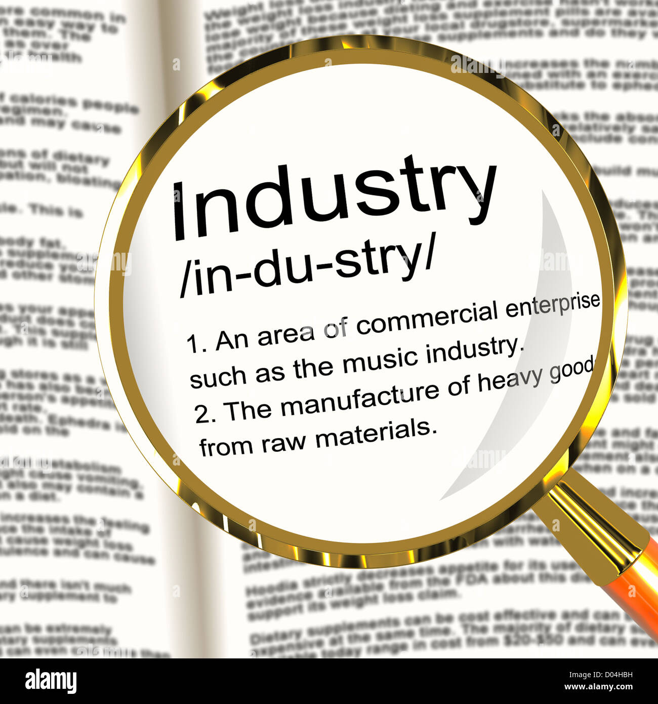 industry definition magnifier shows engineering construction or