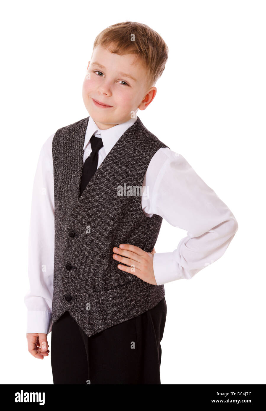 little School boy isolated on white - Stock Image