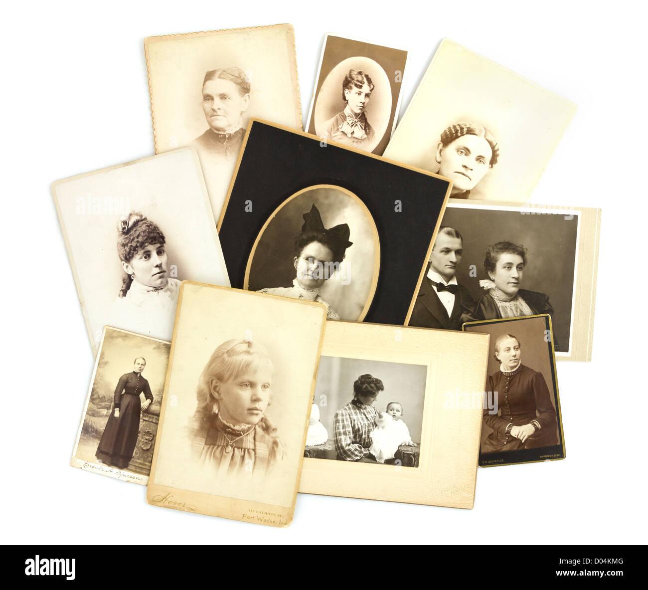 Antique Photos Collage on Isolated White Background - Stock Image
