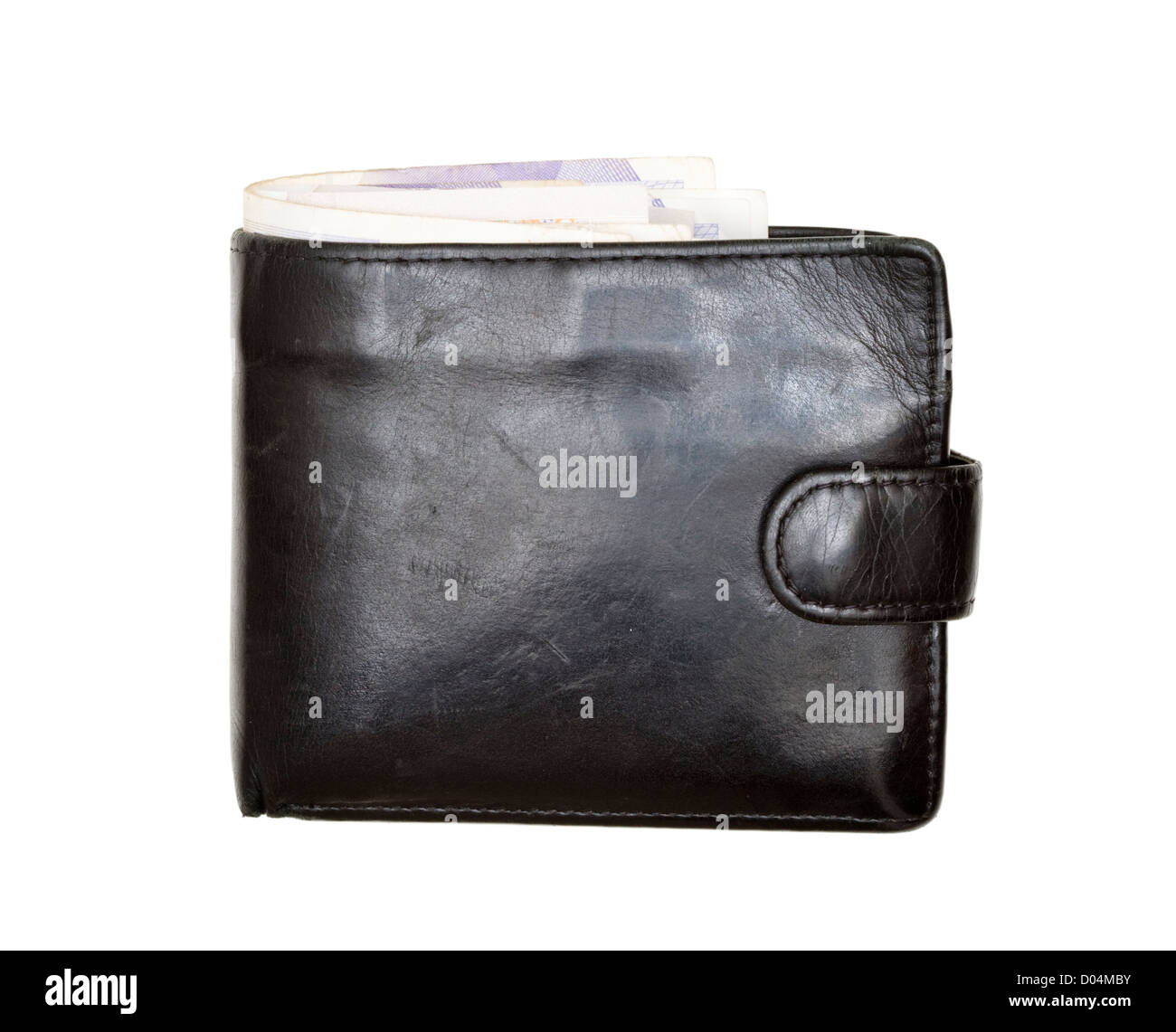 Wallet, full of money (sterling). - Stock Image
