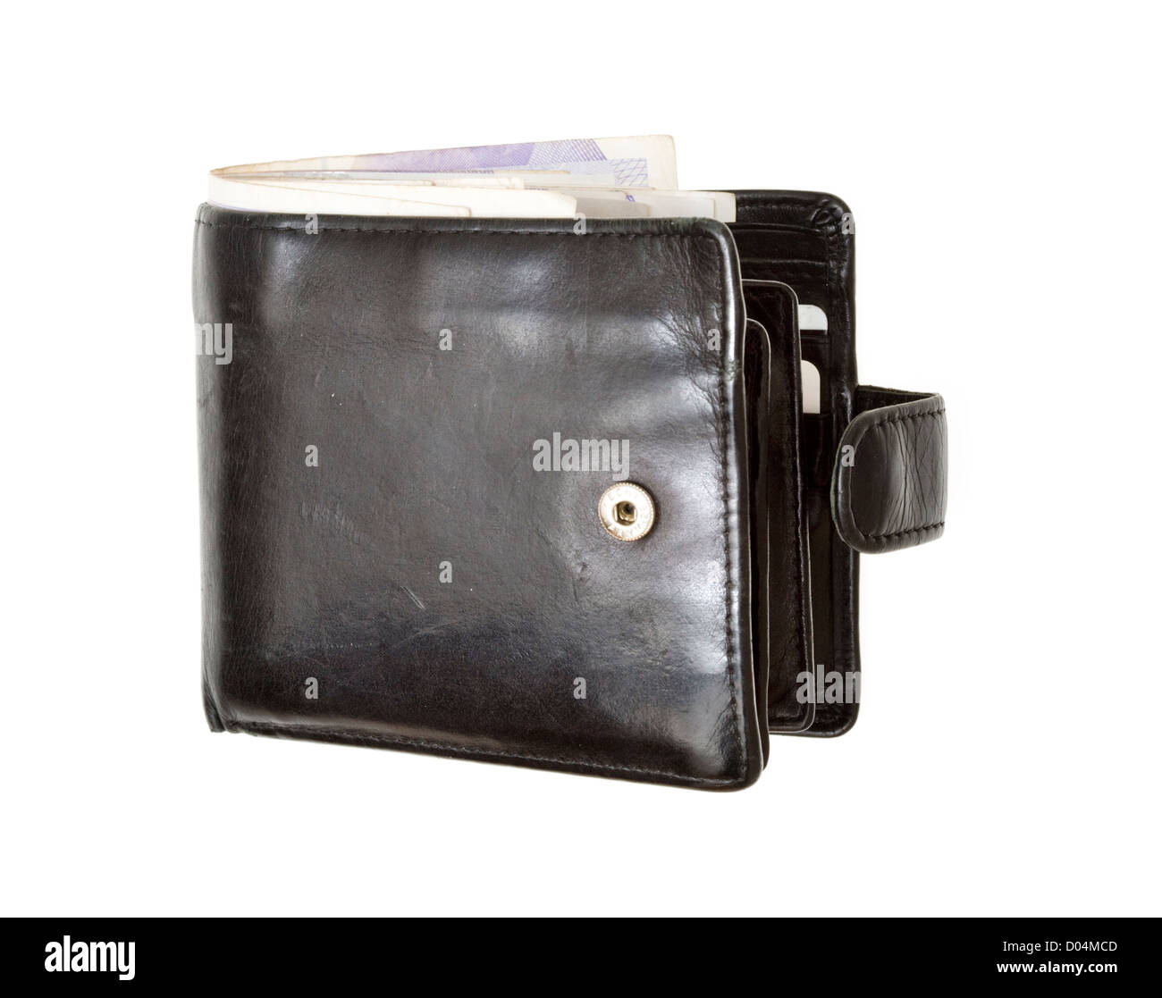 Wallet, full of money (sterling) - Stock Image
