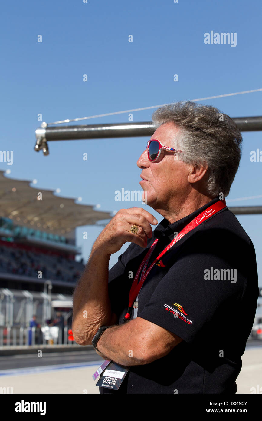 Legendary F1 driver Mario Andretti, 72, watches practice  for the Formula 1 United States Grand Prix at Circuit - Stock Image