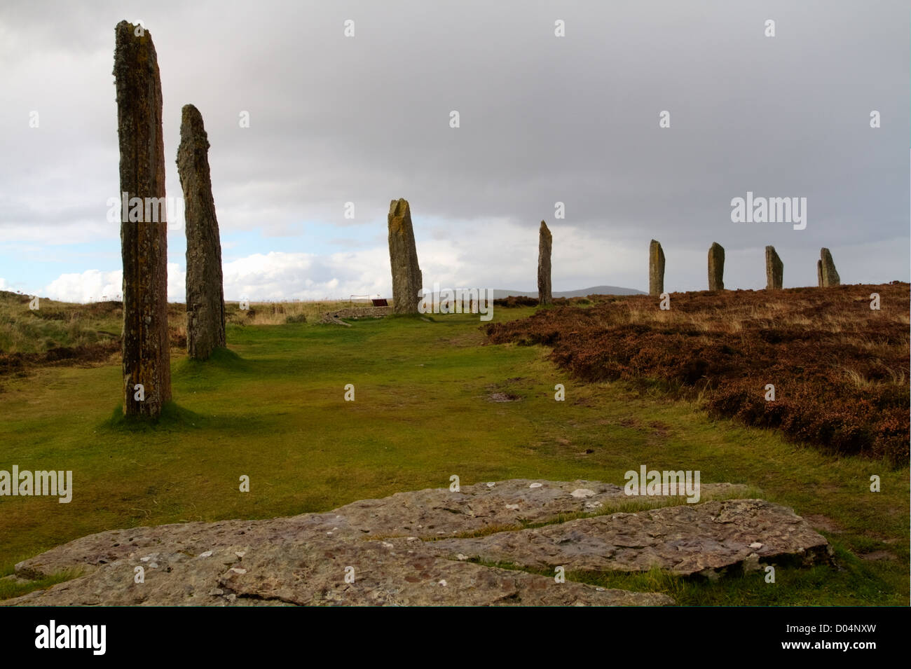 Part of the neolithic stone circle of the Ring of Brodgar on the Island of Orkney, Scotland. - Stock Image