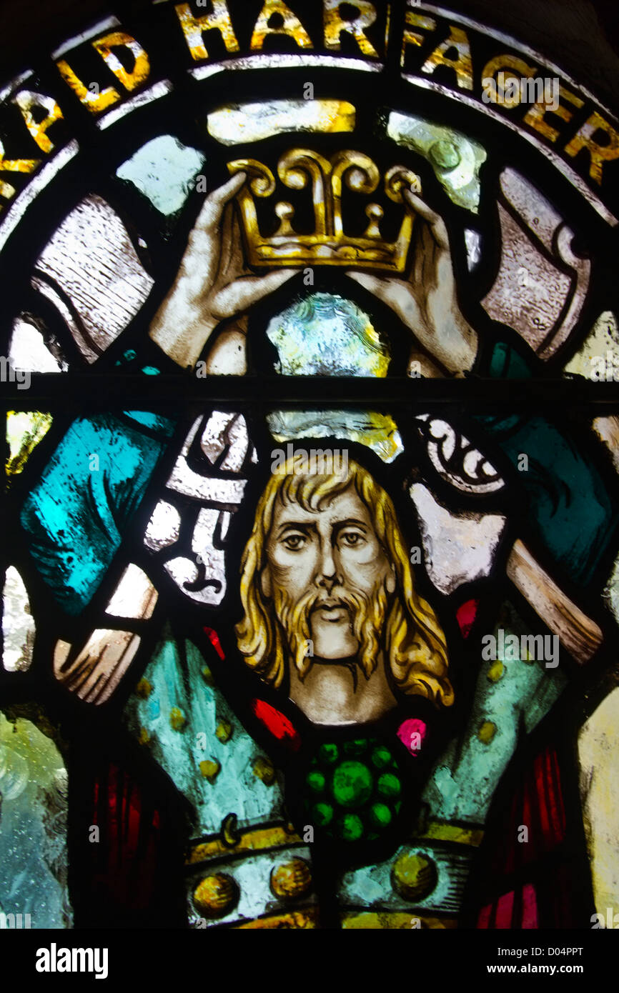 Detail of stained glass window in upper levels of St Magnus Cathedral, Kirkwall, Orkney. - Stock Image