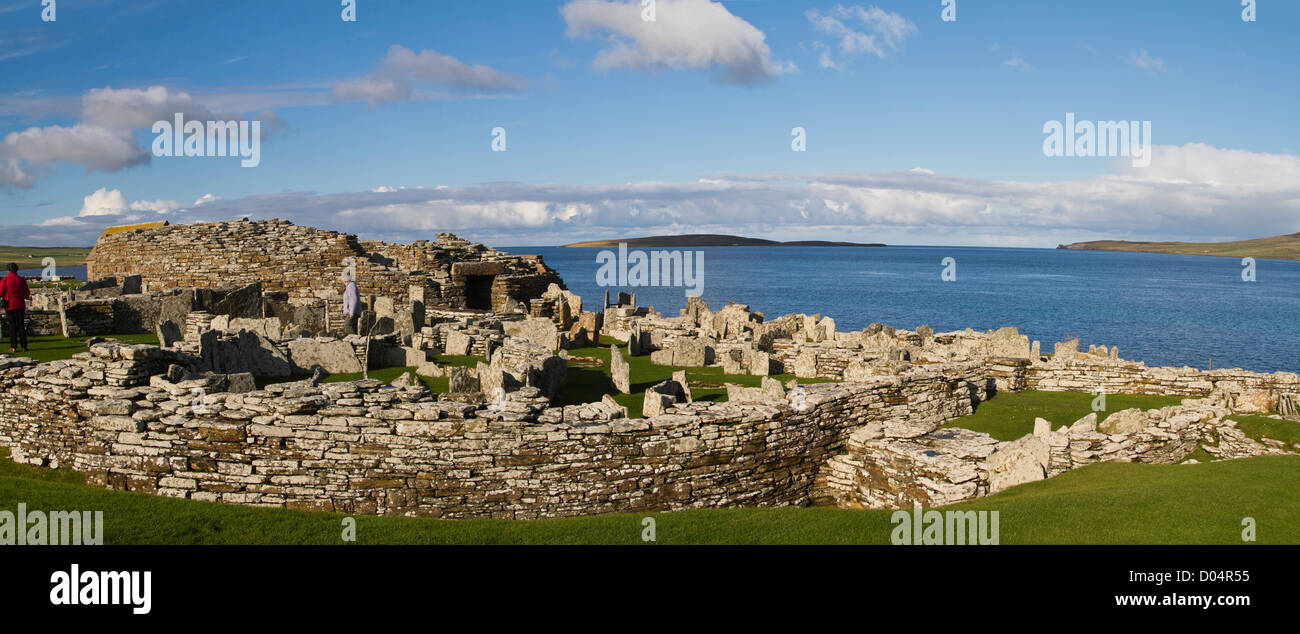 The Broch of Gurness is an Iron Age broch village on the northwest coast of Mainland Orkney in Scotland. Stock Photo
