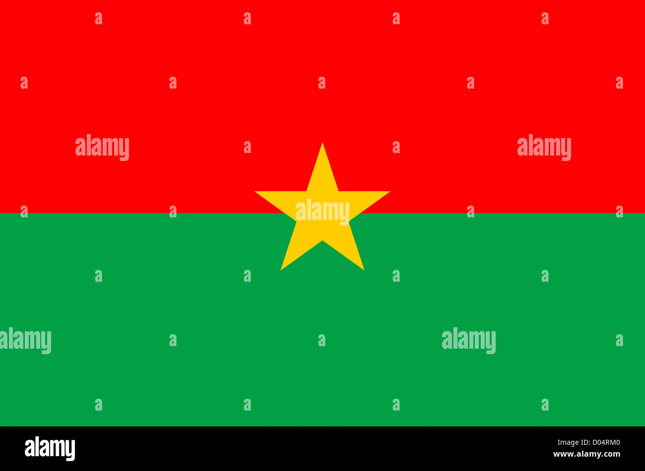National flag of the Republic of Burkina Faso. - Stock Image