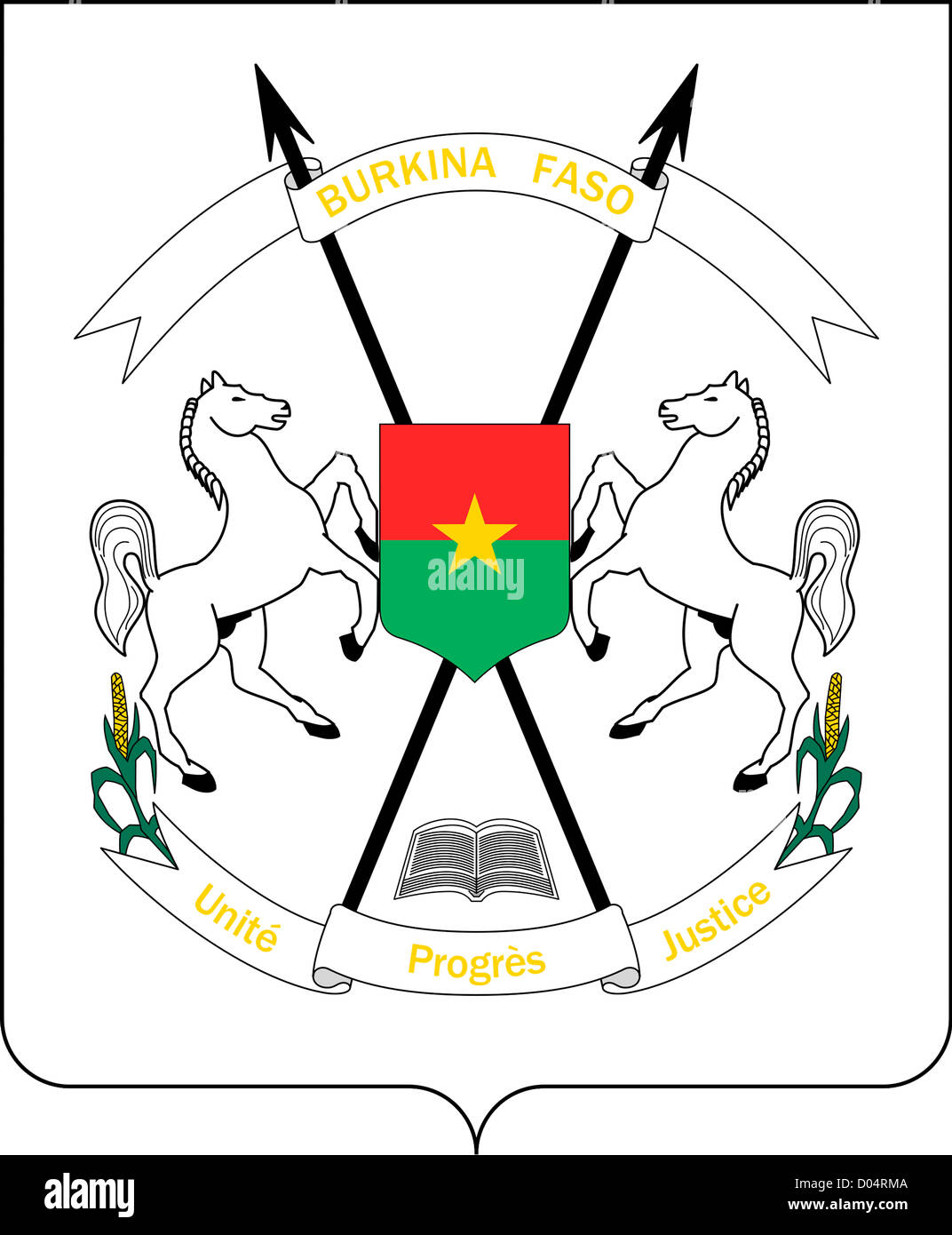 National coat of arms of the Republic of Burkina Faso. - Stock Image