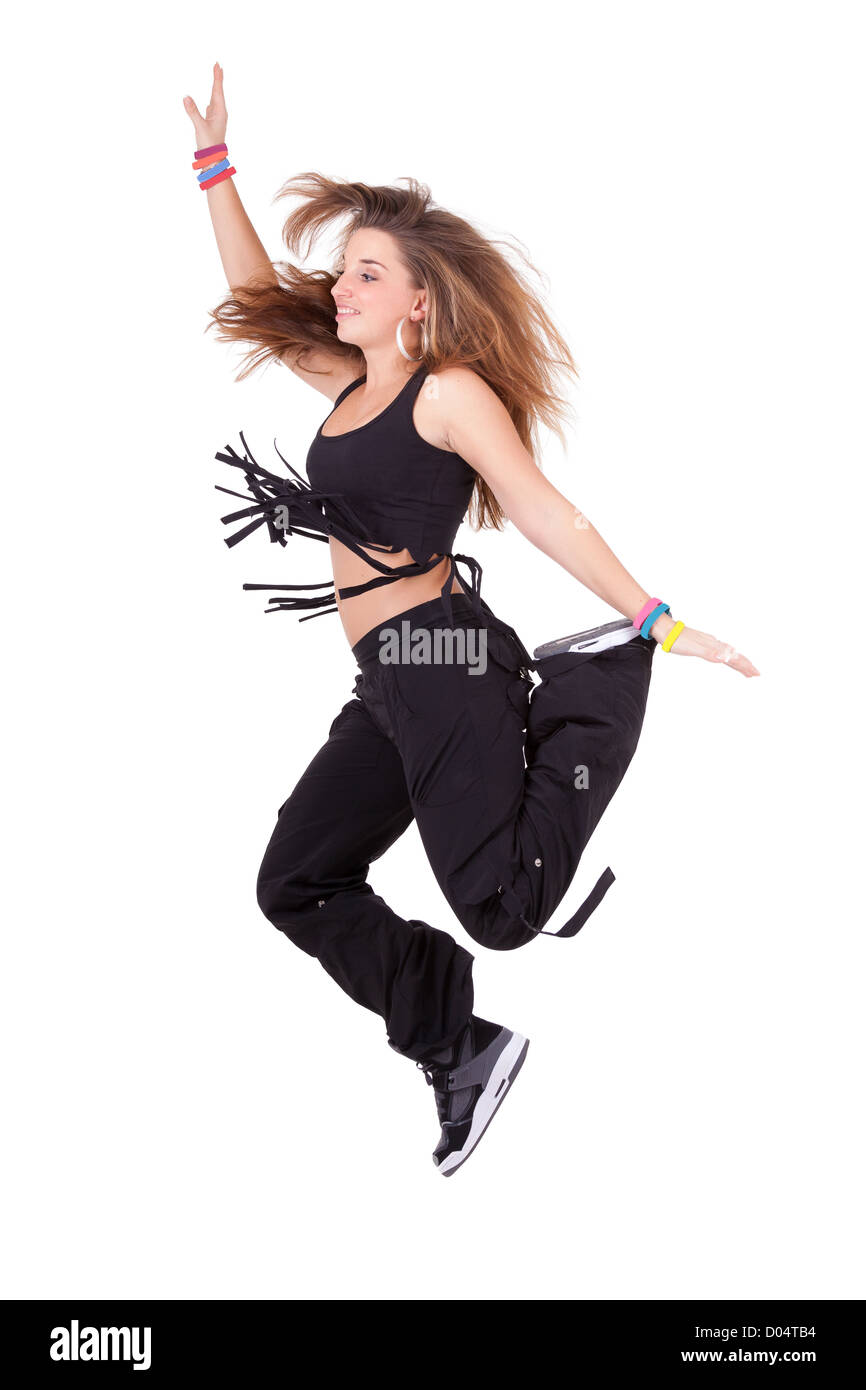 Caucasian Teenage Girl Dancing Hip Hop Isolated On White Background Stock Photo Alamy