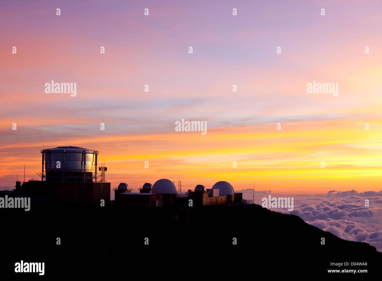Haleakala Observatories on  Hawaii island of Maui - Stock Image