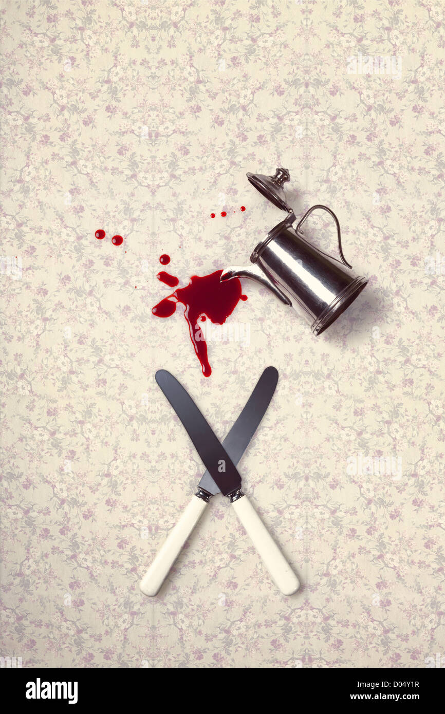 two knives and a coffee pot which is pouring blood on a vintage tablecloth - Stock Image