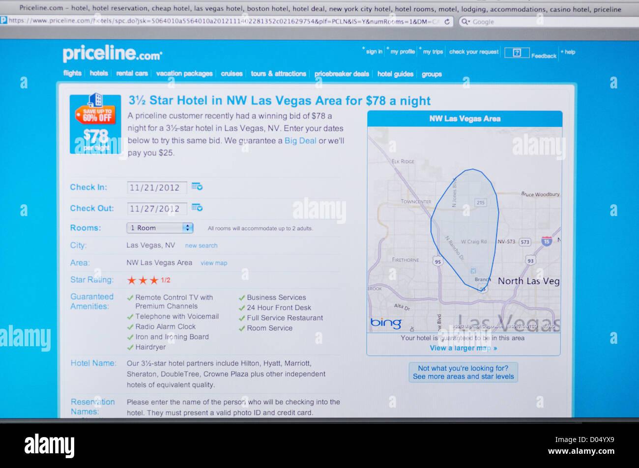 Priceline Com Website Deep Discounts On Travel Arrangements Stock Photo Alamy