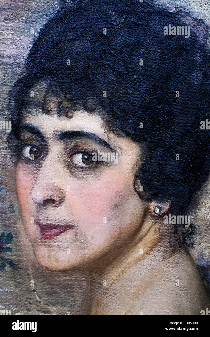 Portrait of Zinaida Stielman (1916), detail, by Isaac Brodsky, Russian Museum - Stock Image