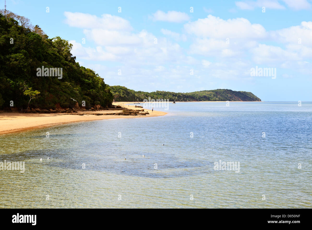 A view along the leeward shore of Inhaca Island Mozambique Stock Photo