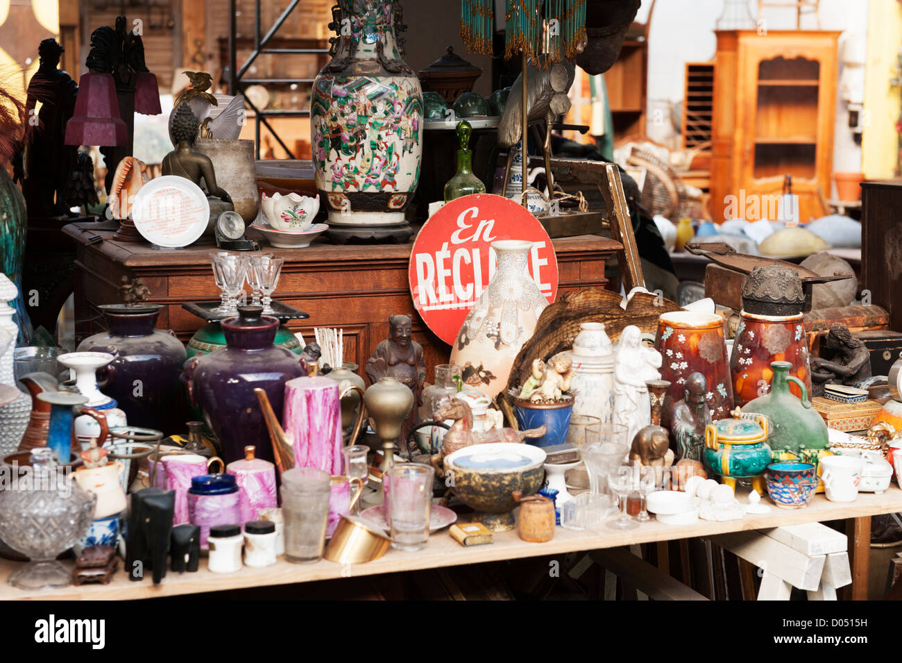 Marché aux Puces (flea market) at St-Ouen near to Clignancourt in the north of Paris, France. - Stock Image