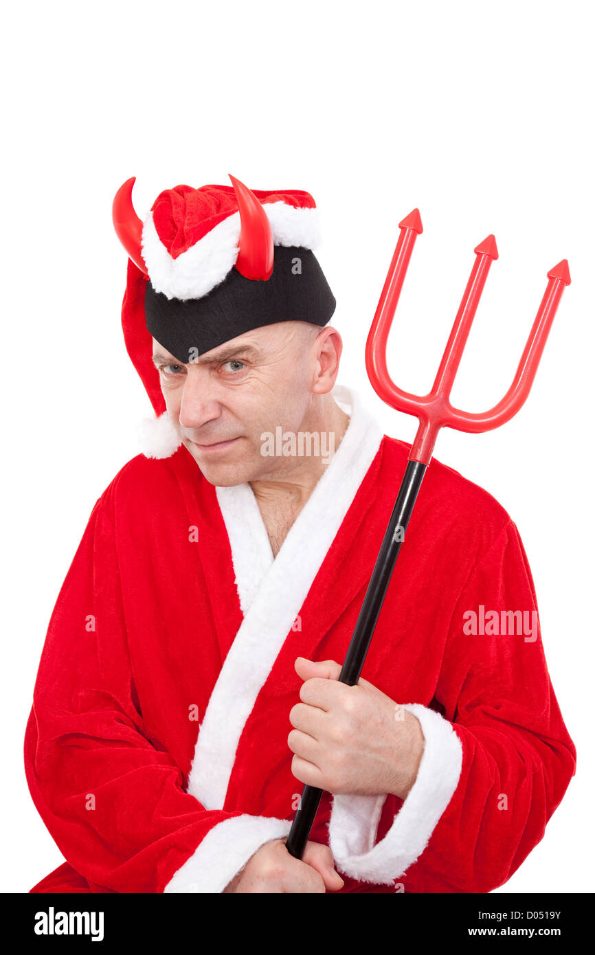 Santa Claus with horns and trident on white background - Stock Image