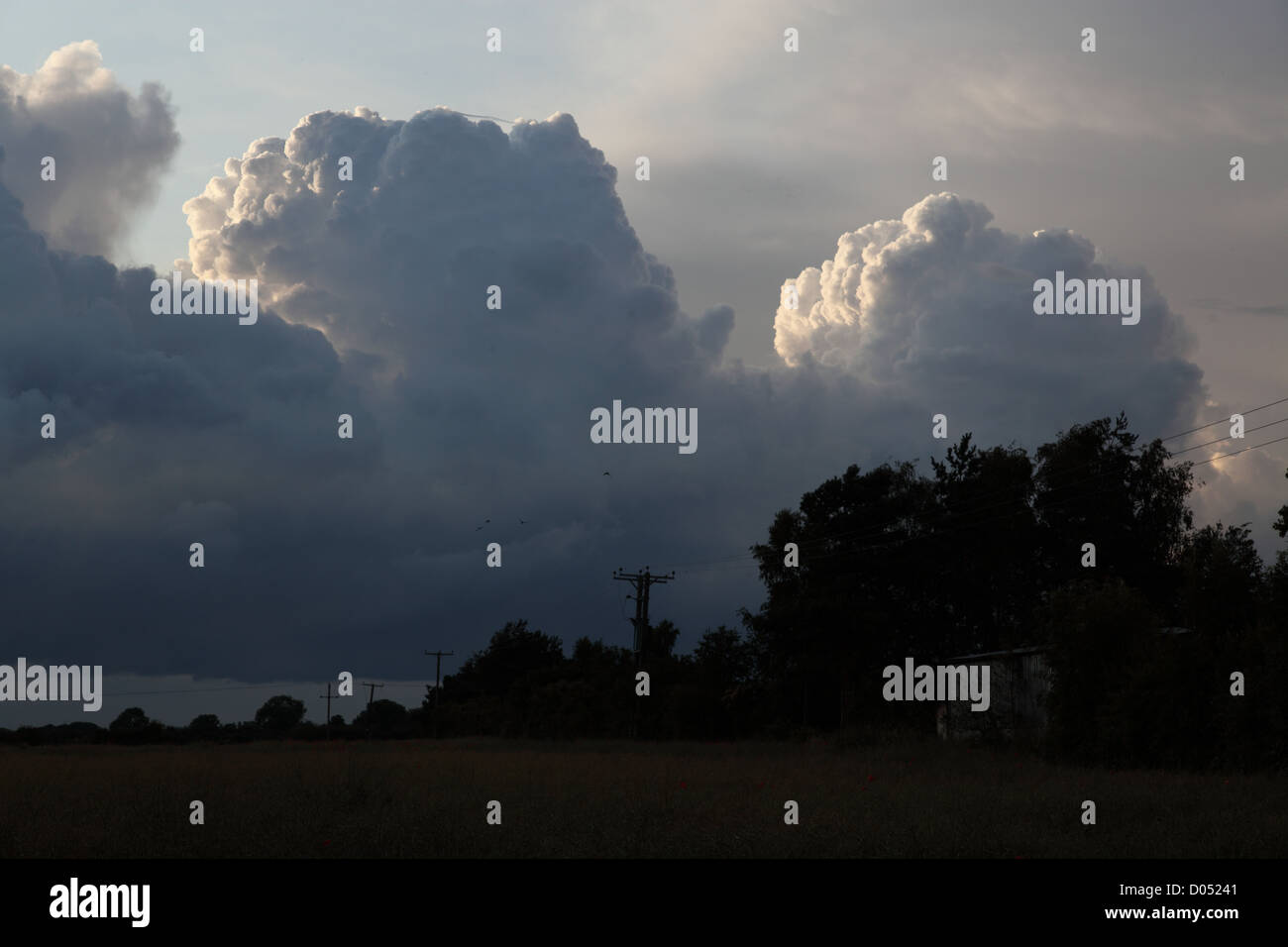threatening cumulonimbus clouds seen in the UK in the late summer evening threatening a summer storm - Stock Image