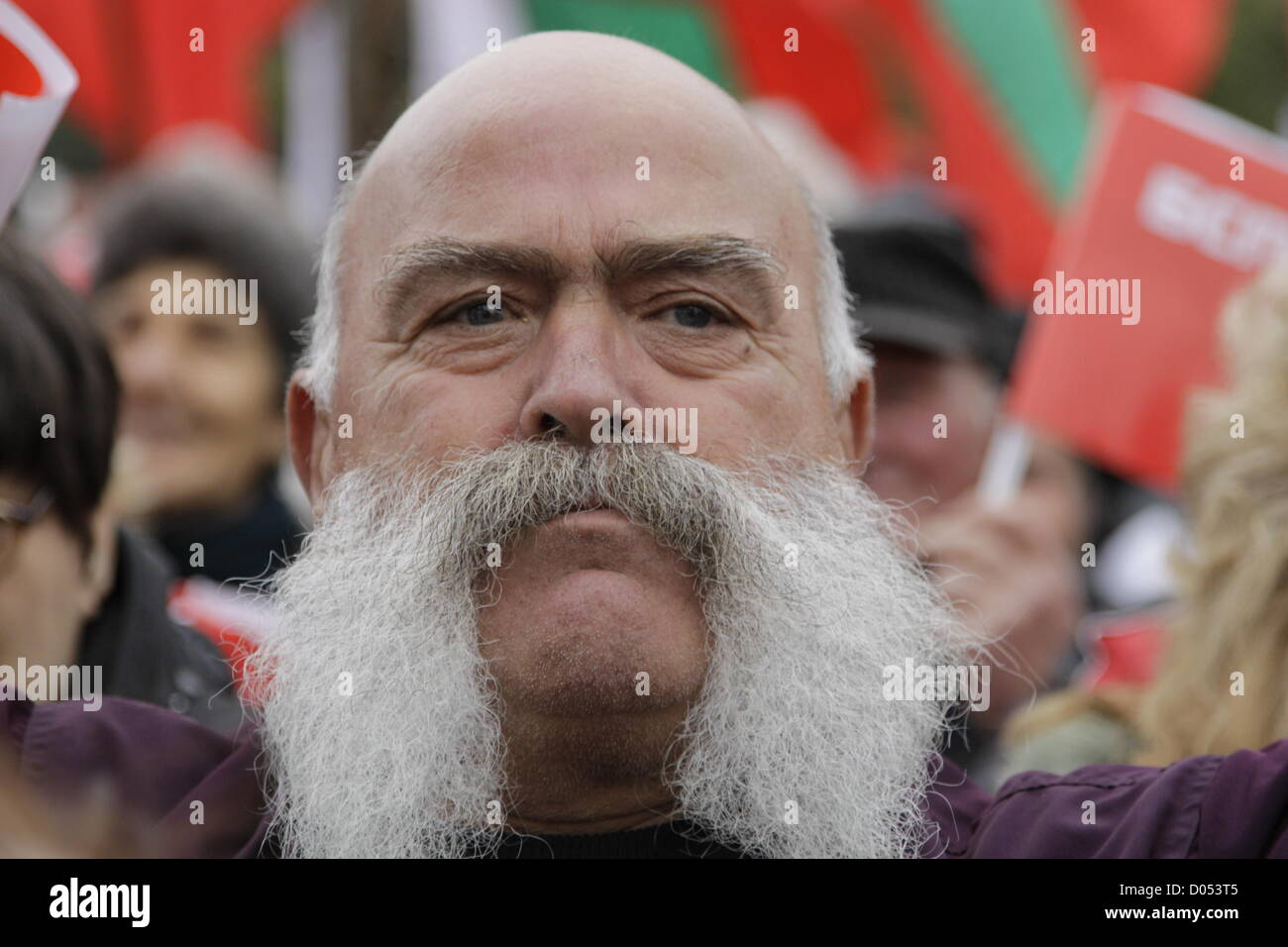 Sofia, Bulgaria. 17th November 2012. Man with big moustache in the crowd of anti-austerity protesters, Socialist - Stock Image