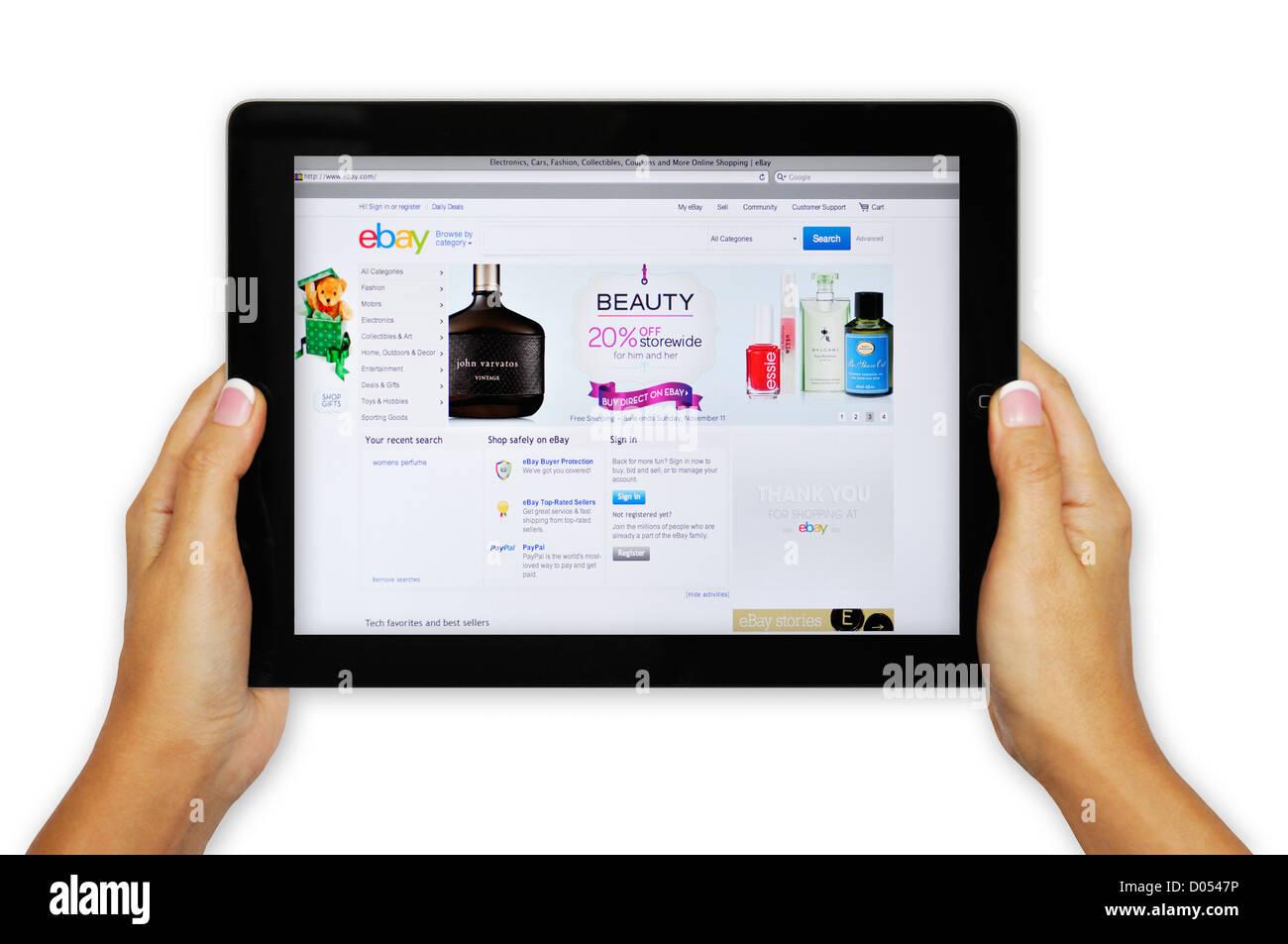 iPad screen showing Ebay website - online shopping - Stock Image