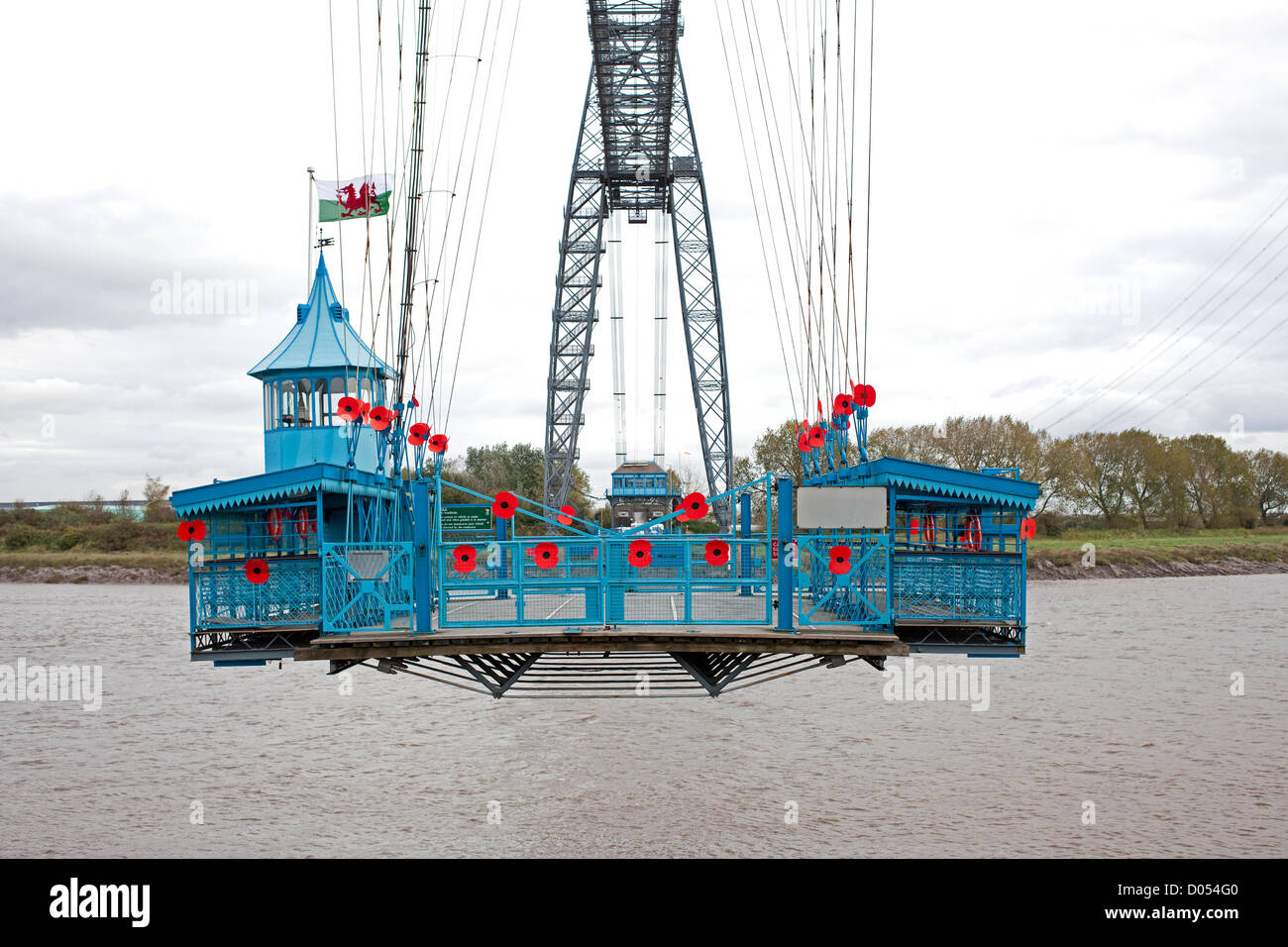 Newport Transporter Bridge Covered in Poppies - Stock Image