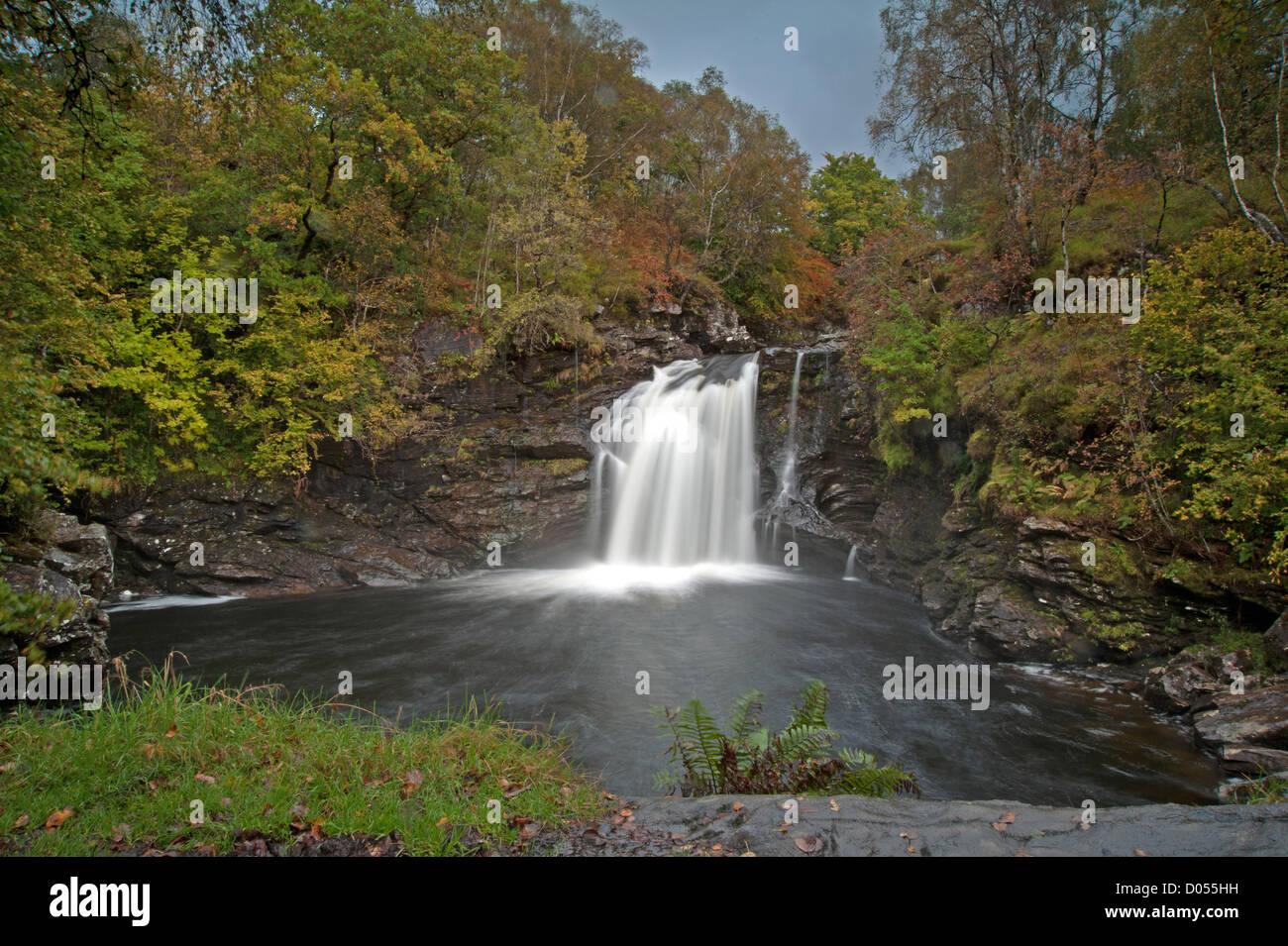 Falloch falls, Waterfall in the trossachs Scotland - Stock Image