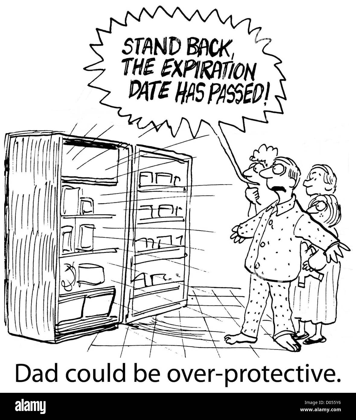 A father is overly protective of his family, 'Dad could be over-protective.' - Stock Image