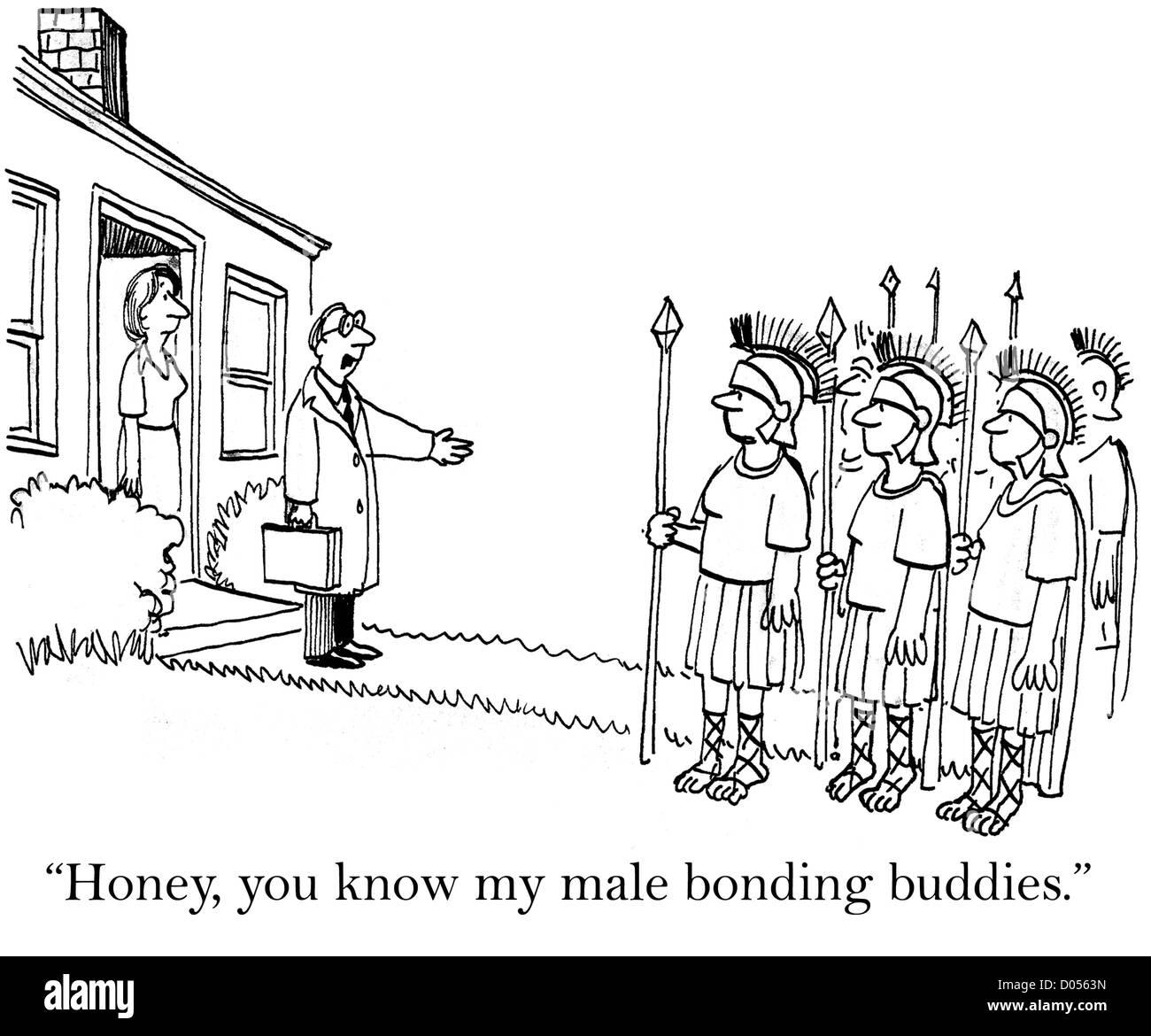 'Honey, you know my male bonding buddies.' - Stock Image