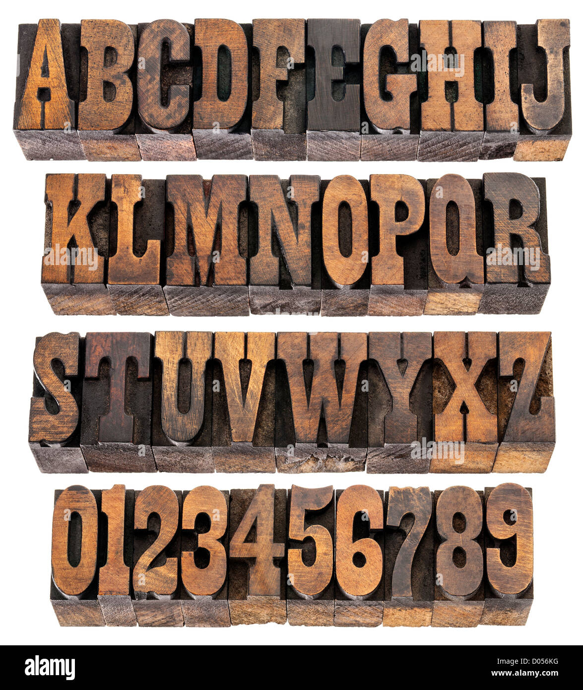 Isolated Rows Of Letters And Numbers In Vintage Letterpress Wood Type Blocks French Clarendon Font